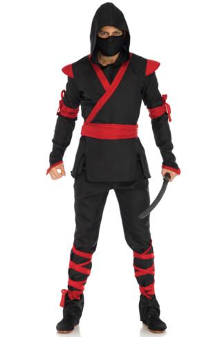 Men's Black and Red Ninja Costume